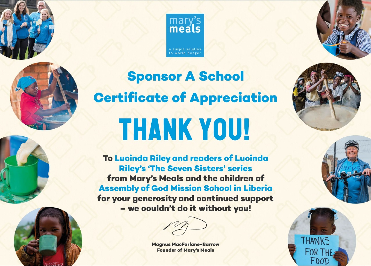 2020 Mary's Meals certificate